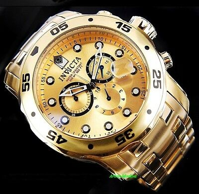 INVICTA MEN'S MASTER OF THE OCEANS 18K GOLD PLATED LUXURY WATCH
