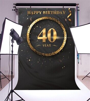 40th Birthday Backdrop (40th Black Birthday Party Photography Backgrounds 5x7Ft Vinyl Photo)