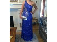 Sequin embellished one strap Royal blue dress - size 10/12