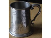 Pewter Tankard with Engraved Picture