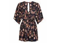 Brand New with Tags (not even tried on) AX Paris Navy Blue Floral V Neck Playsuit - Size 10