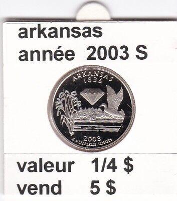 e 3)pieces de 25 cent  arkansas  2003  S