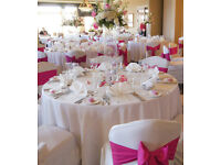 **50p LYCRA IVORY/WHITE/BLACK WEDDING CHAIR COVER & TABLE CLOTH HIRE** Nationwide delivery ***