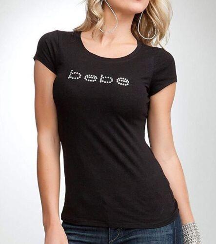 bebe Logo BASIC Rhinestone Black Soft Cotton TShirt Top Adult (0001)  -R11
