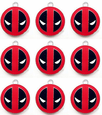 Lot red Deadpool logo Metal necklace Charm Pendants DIY Jewelry Making 30mm