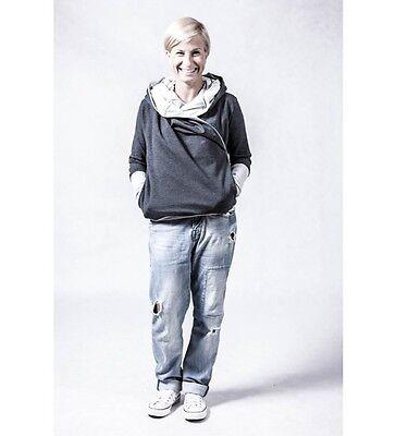 Pregnancy / maternity hoodie, dark grey + light grey, size M