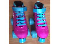 SFR Vision GT Quad Roller Boot Skates size 2 Pink and Blue Fab Condition