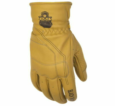 Black Brand Men's Pinstripe Deer Skin Leather Motorcycle Gloves Tan Tan Motorcycle Gloves