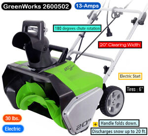 GreenWorks -SOUFFLEUSE A NEIGE ELECTRIQUE -ELECTRIC SNOW THROWER