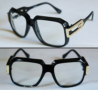 Black Gloss Finish Big Body Retro 80s Style Clear Lens Sun (80s Style Glasses)