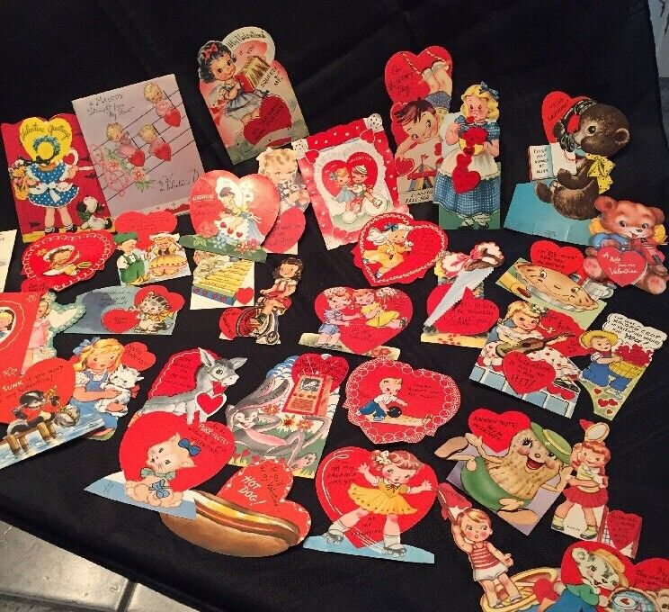 Vtg 1940-50s Valentine Cards School Chums Die Cut Lot Of 36 #1