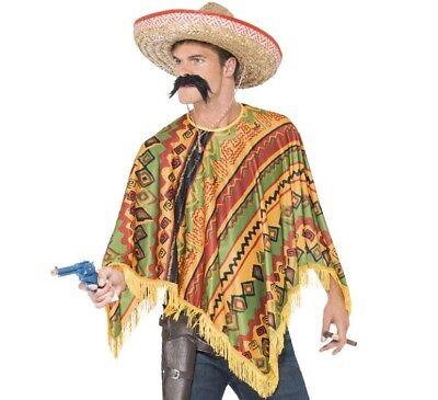 Erwachsene Mexikanisches Kostüm Poncho & Tash Satz Mexiko - Kostüme Von Mexiko