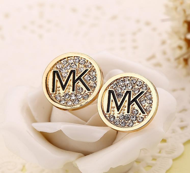 Earrings - American Fashion Women Lady Crystal Set Auger Round Love M @ K Stud Earrings