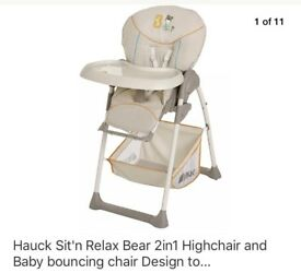 Hauck 2in1 highchair and baby bouncer