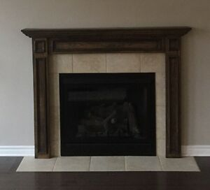 Wood frame fireplace mantel