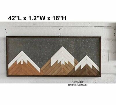 Large Wall Art Metal Wood Mountain Rustic Decor Farmhouse Country Lodge -