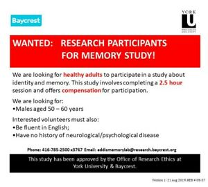Recruiting research participants for memory study