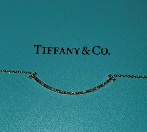 "Tiffany & Co. 18K Gold 0.1 carat diamond Smile  Necklace 16"" Retail $2,300"