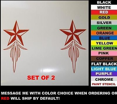 2-pc Nautical Star Pinstripe Decals,fit Harley Softail, Road King, Dyna, Rat Rod