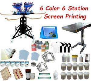 Micro-adjust 6 Color Screen Printing Kit with Flash dryer& Press Ink Consumables 006957