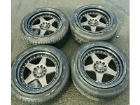 Rota Kyusha 17x9.5 ET12 5x114 Alloy Wheels & Very Good Tyres S14 Evo Supra Skyline RX7