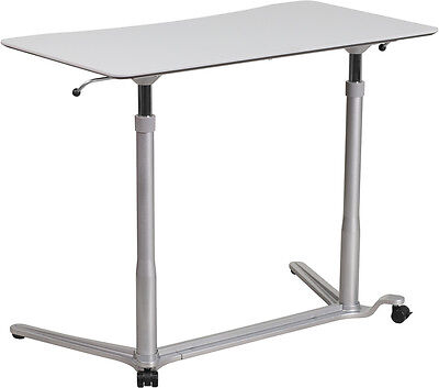 Adjustable Mobile Sit-down Stand-up Computer Desk In Light Gray W37.5w Top