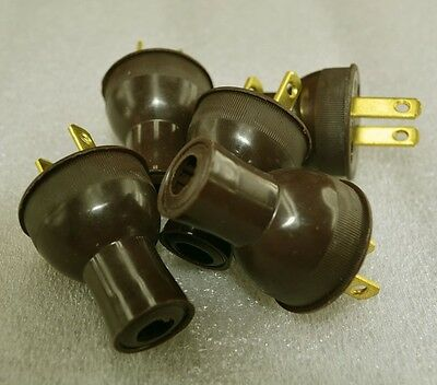 Vintage Antique Style BROWN Electric Plug 5-Pack- Steampunk - Lamp Cord Rewire
