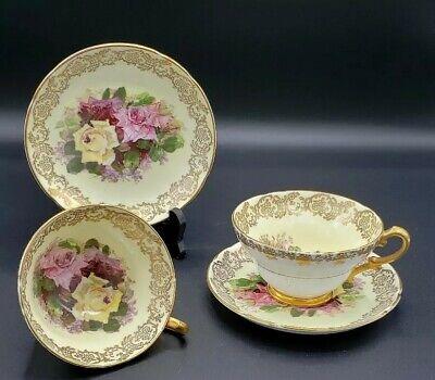 Set Stanley Fine Bone China England  Hand-Painted Tea Cup Saucer Roses Flowers  Bone China England Tea Cup