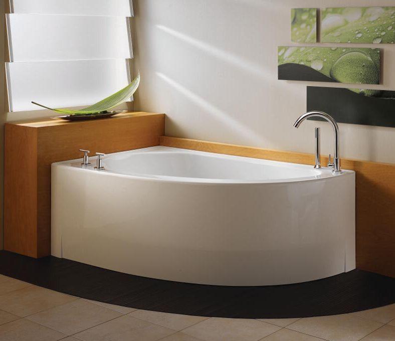 Neptune Wind 60 Whirlpool Bathtub Wi60t - Lovely Corner Tub, White, Drain Right