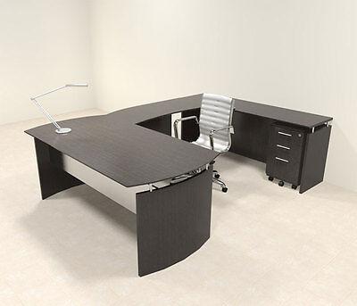 4pc Modern Contemporary U Shaped Executive Office Desk Set Mt-med-u3