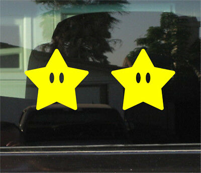 Super Mario Brothers Dekorationen (SUPER MARIO BROTHERS STAR VINYL DECAL / STICKER PAIR)