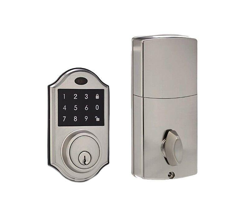 AmazonBasics Classic Satin Nickel Electronic Deadbolt Door Lock