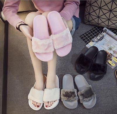 Fashion Womens Lady Slipper Slip On Sliders Fluffy Fur Slippers Flip Flop Sandal