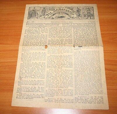 Schwenningen, Volksblatt historische Zeitung Neckarquelle von 1888