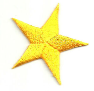 SET-OF-FOUR-4-2-3-8-YELLOW-EMBROIDERED-STARS-IRON-ON-PATCHES