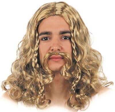 Perücke Moustache Blonde VIKING Kostüm Herren Guerrier film neu billig