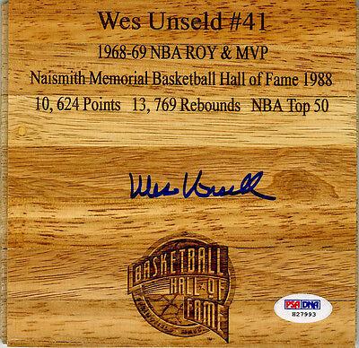 Wes Unseld SIGNED Floorboard Washington Bullets HOF RARE PSA/DNA AUTOGRAPHED