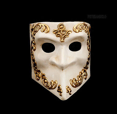 Mask from Venice Bauta Golden and White Authentic Venetian 275