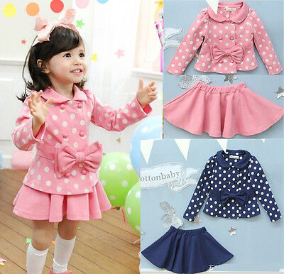 NWT GIRLS TODDLER DRESS DOT COAT TOP+SKIRT 1-6Y 2PCS KIDS CLOTHES SET OUTFIT