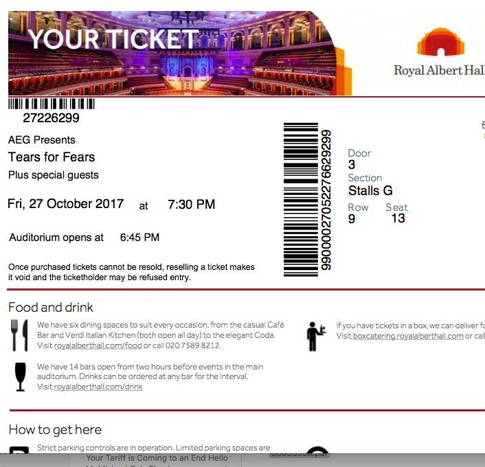 TEARS FOR FEARS TICKETS FOR ALBERT HALL ON FRIDAY 27TH OCTOBER 2017