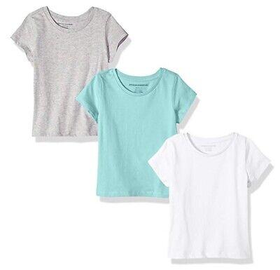 Little Girls' 3-Pack Short-Sleeve Tee, Aqua/Heather Grey/White 1, S (6/7)