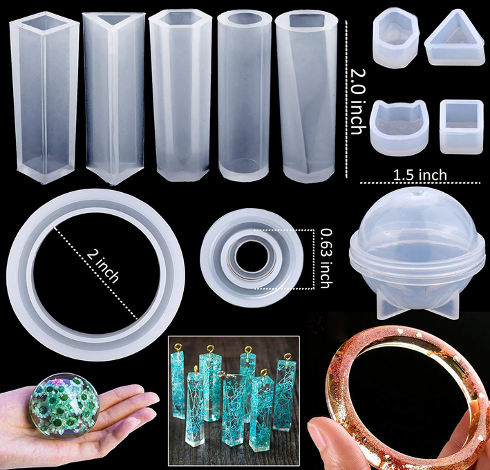 83Pcs Silicone Casting Molds Tools Sets Resin DIY Bag