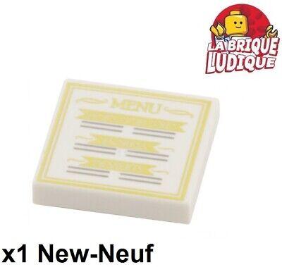 Lego 1x Tile decorated 2x2 carte Menu restaurant food 3068bpb0819 10243 NEUF (Restaurant, Cart)