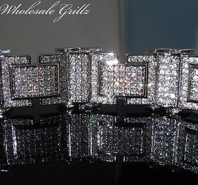 """NEW$389 MENS 8.5""""SIMULATE DIAMOND 14K WHITE GOLD GP ICED OUT MICRO PAVE BRACELET"""