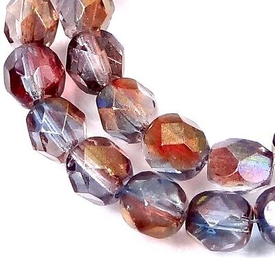 - 25 Firepolish Czech glass Faceted Round Beads - Amethyst Blue Crystal  6mm