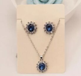 Royal blue sapphire earring stud and necklace