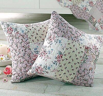 Kissenhüllen Quilt Plaid Shabby Chic rosa/beige 2er-Set 40 X 40 Rosa Kissen 2-er Set