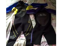 Ladies full length and shortie wetsuits