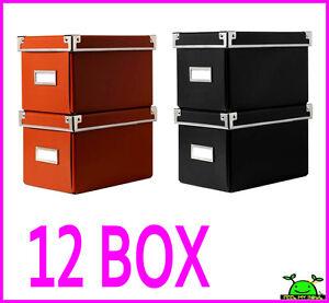 12 ikea cd storage box organizer containers w lids label. Black Bedroom Furniture Sets. Home Design Ideas