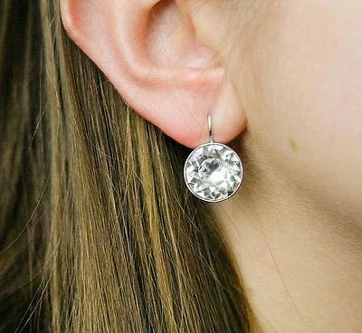 Swarovski Crystal Silver Plated Earrings - Large Bella Earrings Made with Swarovski Crystal Gold Silver Plated Bezel Lever